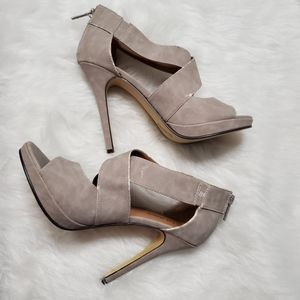 Michael Antonio Faux Suede Taupe Strappy Heels 8.5